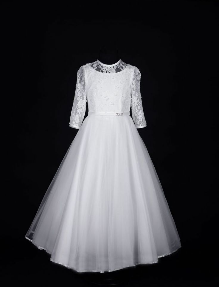 Sophisticated First Communion Dress - Long Sleeve Beaded Lace with Fairytale Tulle Skirt - Juliette - Isabella Collection - Girls Communion Dress