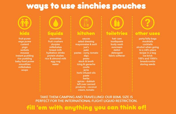 Ways to use your Sinchies pouches - the uses are endless! If you've got any other ideas we'd love to hear them! #reusablefoodpouch #babyfoodpouch #yoghurtsqueezie #liquids #kids #families #convenient #handy #easytouse #BPAfree #savingtheenvironmentpouchbypouch #lunchboxes #healthyeating #nudefood