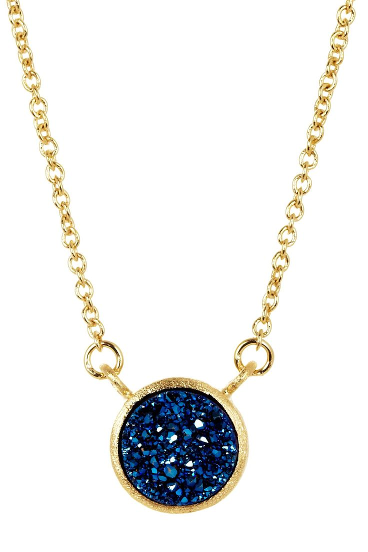 18K Gold Clad Electric Blue Druzy Station Necklace