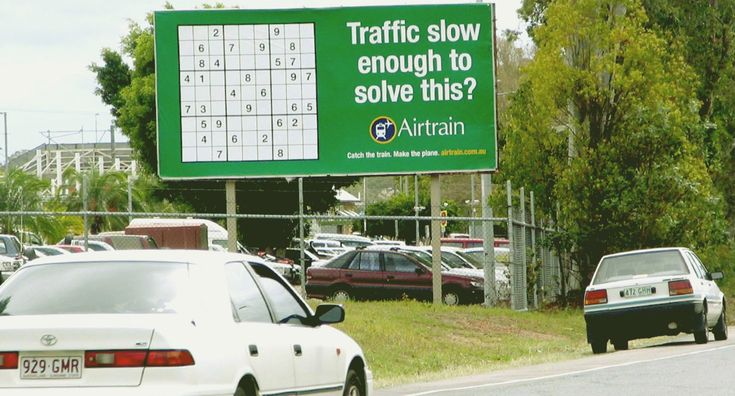 """Advertising to present alternative options.    """"Traffic slow enough to solve this?  Catch the train. Make the plane.""""  Company: AirTrain: Sudoku  Agency: De Pasquale, Brisbane, Australia"""