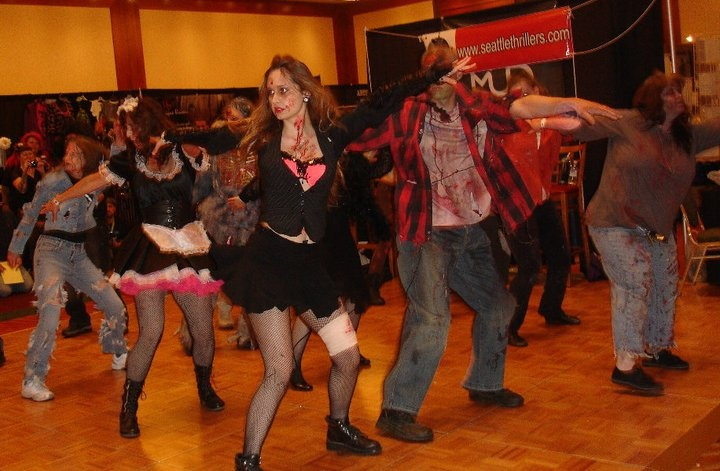 Performing Thriller for Crypticon. We are Seattle Thrillers and teach the dance for our international event, Thrill the World. Message me on Facebook for information how you can learn too!  http://www.facebook.com/karla.mohtashemi