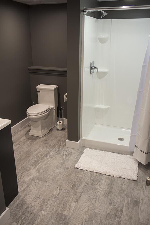 17 best images about finishing basement on pinterest for Finished bathroom ideas