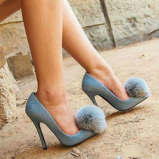Privileged Pom Pom Pointed Toe Heels Playboy