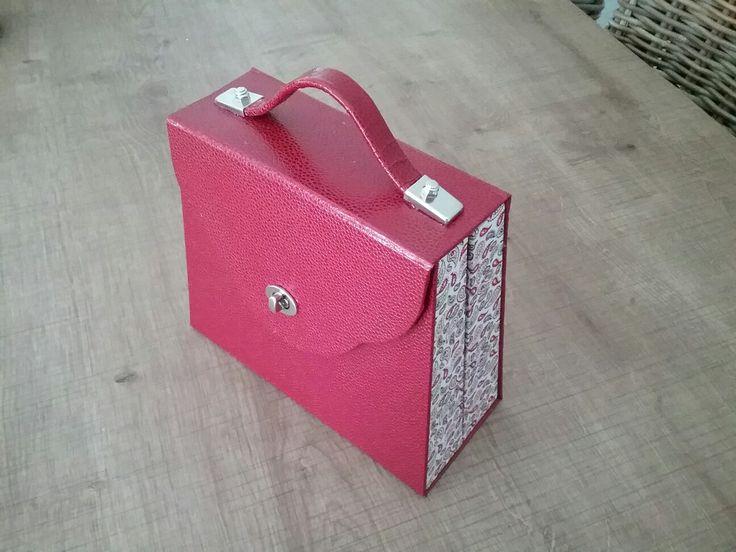 Voici un sac à bijoux voyage que j ai terminé  aujourd'hui,  C est un modèle  de la créatrice Catherine Molinatti.  Ce sac est recouvert de simili gros galuchat ,d un fermoir , d une poignée  et d un bouton de la theiere de bois , et le tissu je l ai acheté  chez  dotty rose à creativa à Montpellier.  J ai adoré  refaire ce Sac!  J ai changé  un tout petit peu l intérieur du sac d après le Tuto!  A Bientôt!  Fatima