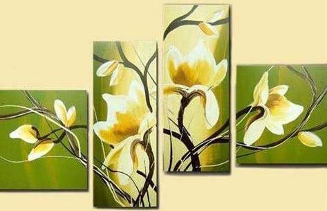 Cuadro verde con Flores amarillas