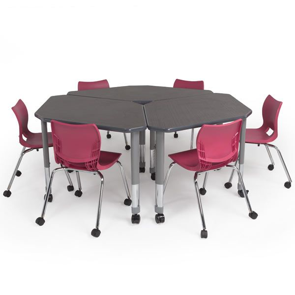 Two-student Diamond Desk for small or large collaborative work. Rugged and classroom ready!