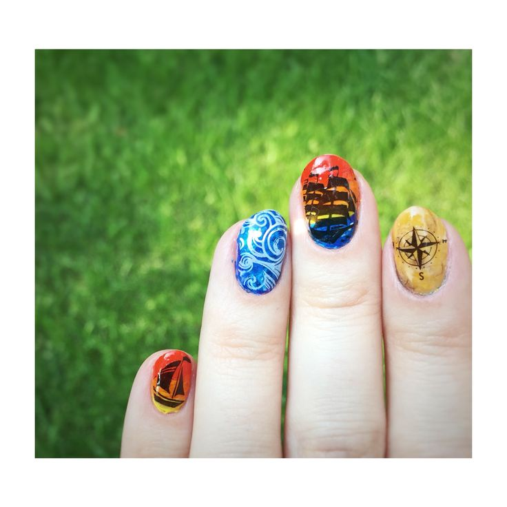 01Jul15 Marine theme nails. Stamping over acrylic paint.  Last one, I promise