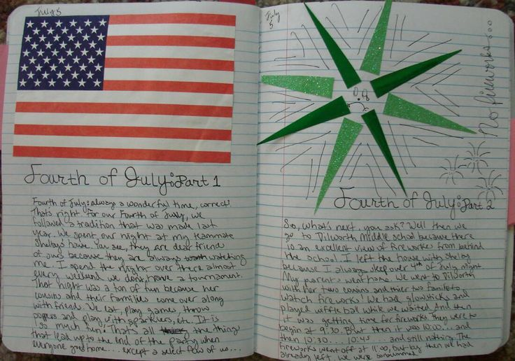 8th grader Bree returned to me after the summer of 2012 with these great entries about her Fourth of July.  Learn about my summer writing expectations here:  http://corbettharrison.com/Summer-Expectations.htm