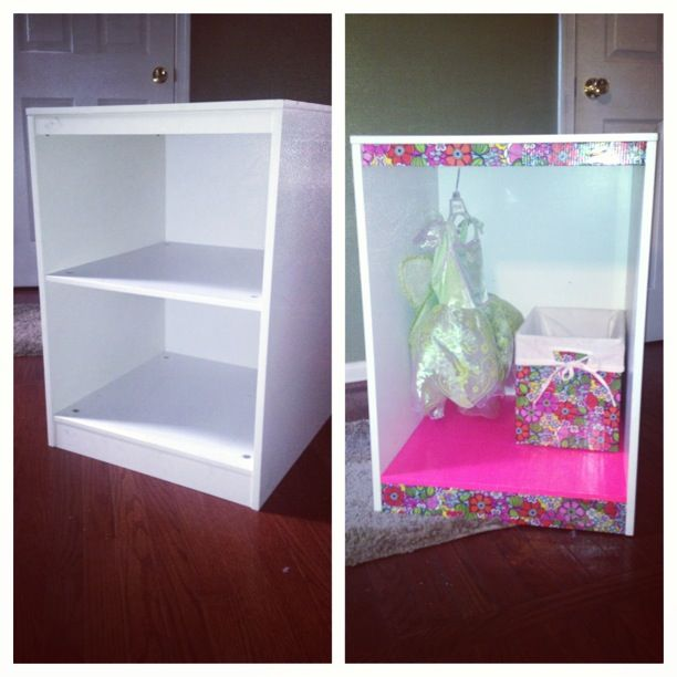 DIY Little Girls Dress Up Closet From An Old Side Table. All It Takes