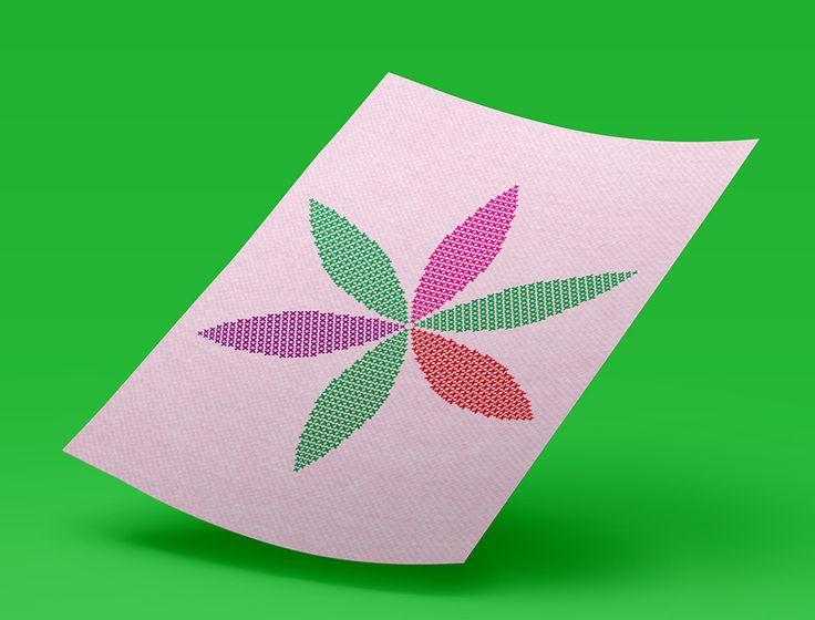 #serigrafía #ilustración Se vienen muchos colores en punto de cruz: Flor geométrica. Impresión digital. ¡Ya merito!