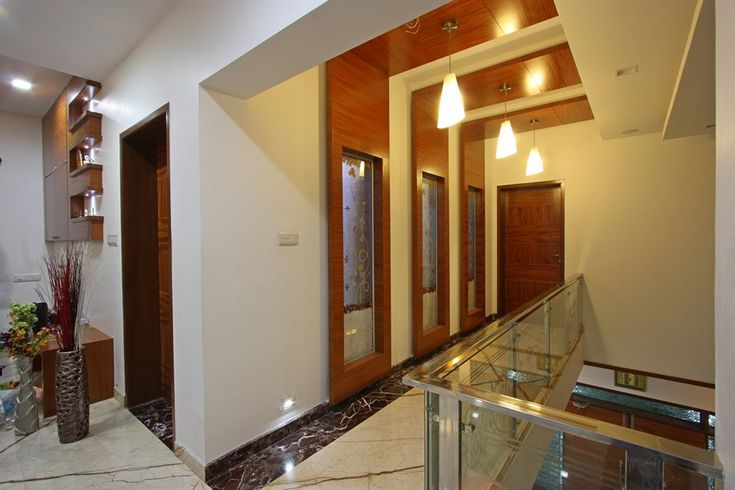 Wooden False Ceiling And Panelling In The Passage Leading