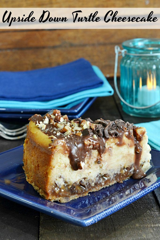 Upside Down Turtle Cheesecake |  This cheesecake has not only the yummy toppings on the top but also on the bottom.  From the bottom to the top I can't get