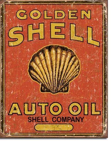 Cartel Vintage 1973 - Shell Auto Oil - Cartel de chapa 41x32 cm.