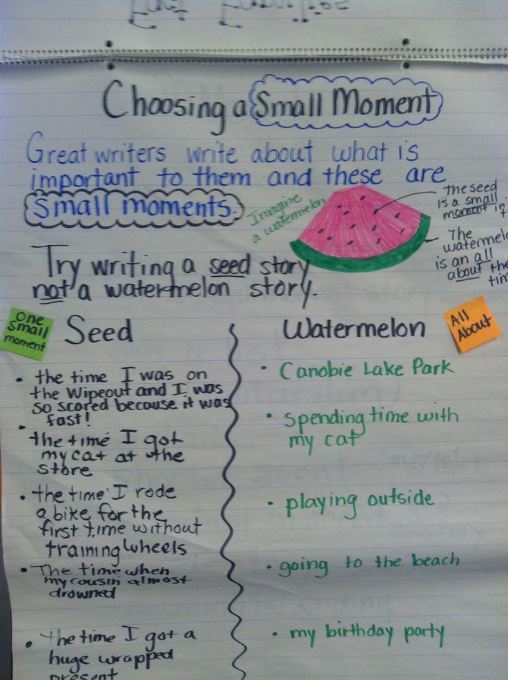 Narrative - small moments watermelon vs. seed chart.
