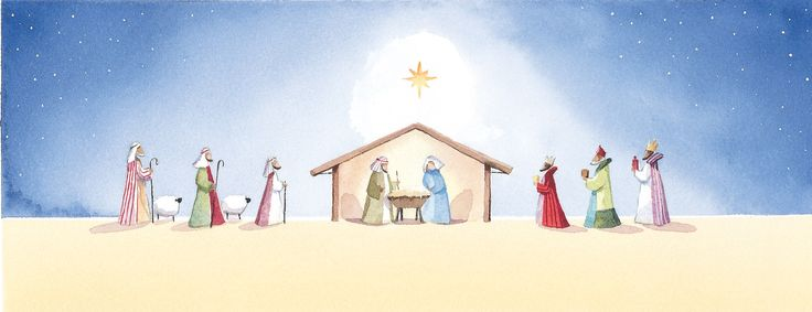 """Visiting the Manger. 86 x 228mm. £4.00. All cards come in packs of 10.  Greeting in cards: """"With Best Wishes for Christmas and the New Year."""""""