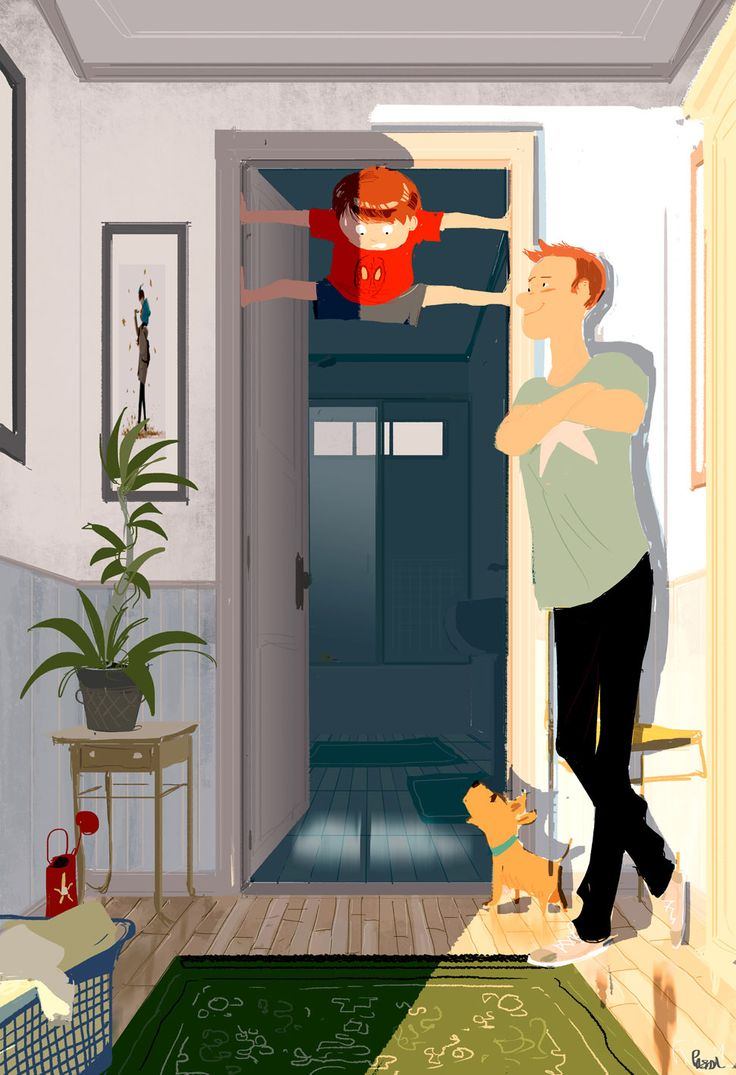 Ninja.  -Daddy..Look... I'm a ninja! -Nice Colin -I can climb all the way up here by myself. -Can you get down by yourself too?  -.....  -Colin?  -Daddy..? Help??  -Are you going to take a shower without complaining ?  -DADDY.....!!!   My son loves climbing in between door frames. #pascalcampion