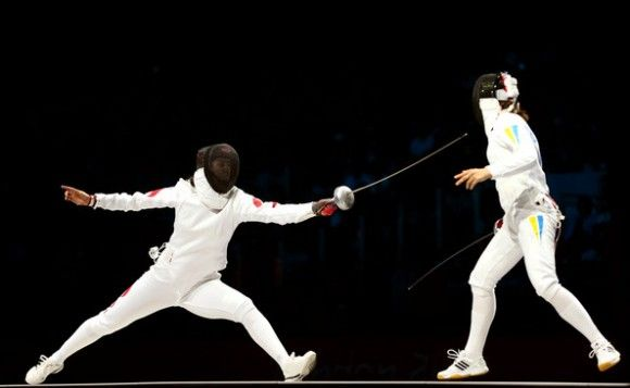 Ukraine's Yana Shemyakina won a gold medal in the women's individual epee fencing category. Britta Heidemann of Germany took silver, and Yujie Sun of China took bronze.
