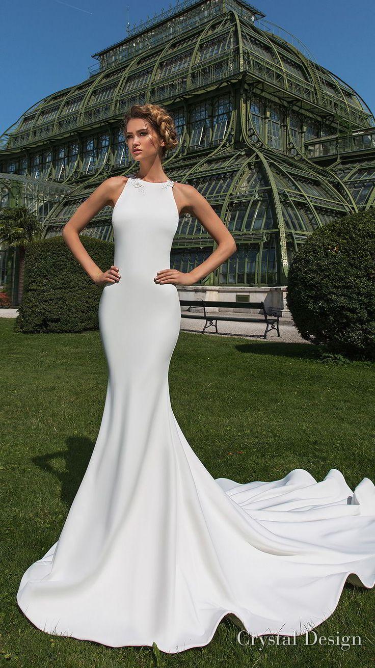 crystal design 2018 sleeveless halter neck simple clean elegant fit and flare wedding dress sheer lace back chapel train (keren) mv