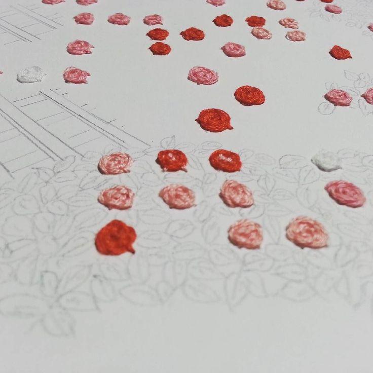 On instagram by braillefriend #braille #doitbraille (o) http://ift.tt/1RtY90H  #点字 #点字楽譜 #楽譜 #音符  friend art #刺繍 #薔薇 #rose #birthday #バースデーソング #embroidery