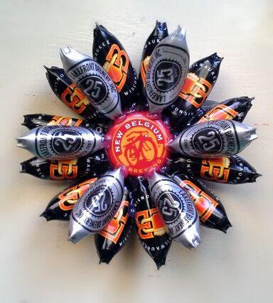 Handmade Refrigerator Magnet Lakefront Brewery Beer Bottle Cap Flower Magnet by MissAbbyRose, $12.00