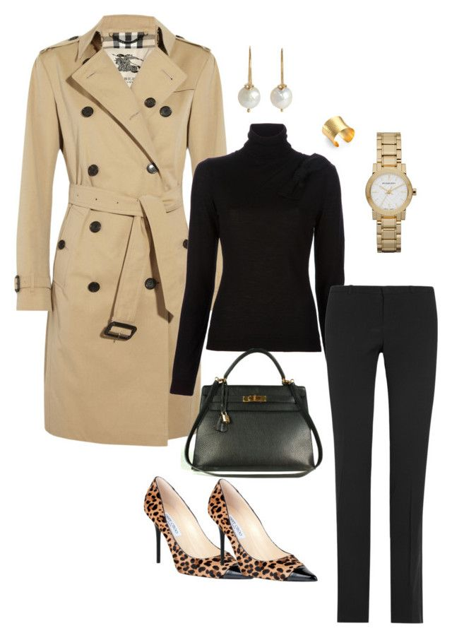 """trench"" by julianawagner ❤ liked on Polyvore featuring Burberry, RED Valentino, Gucci, Stephanie Kantis, Sandra Dini, Jimmy Choo and Hermès"