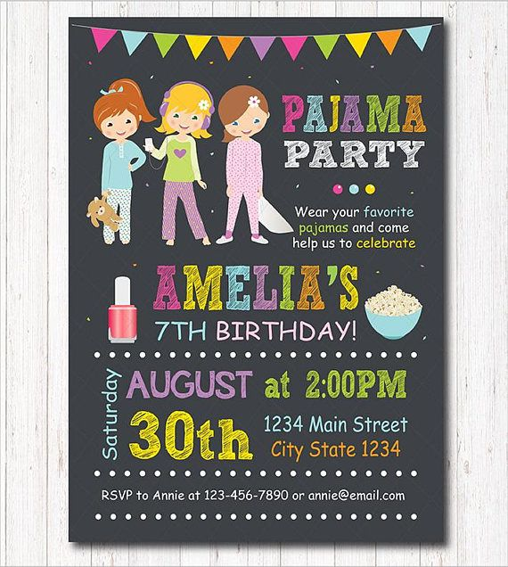 Pajama Party Invitation Sleepover Invitation Slumber Party