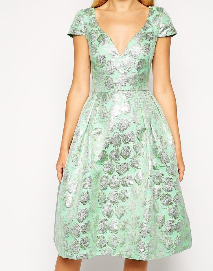 ASOS | ASOS Deep Plunge Metallic Prom Dress at ASOS