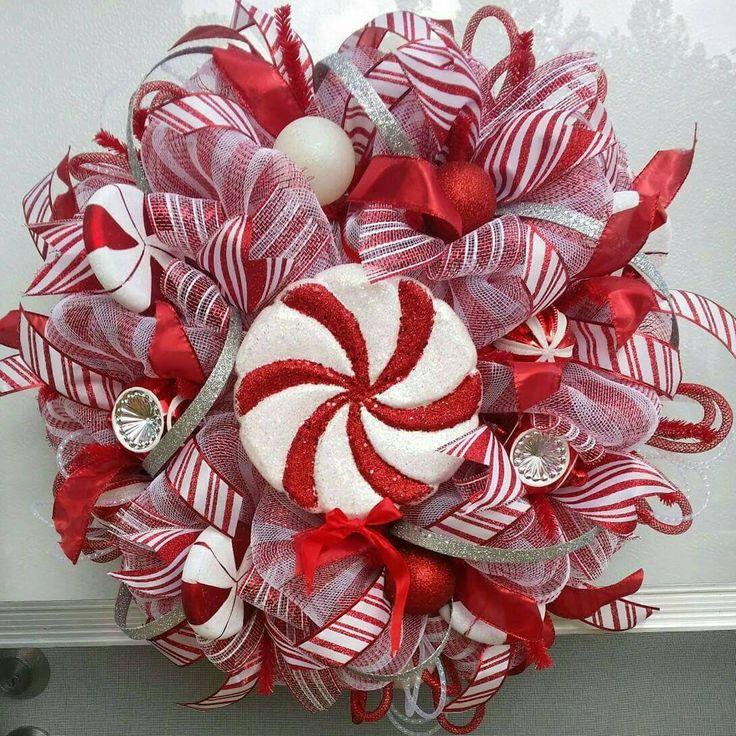 Peppermint Wreath,Candy Deco Mesh Wreath, Christmas Candy Wreath, Candy Cane Wreath, Holiday Candy Wreath, Candy Wreath, Whimsical Christmas - pinned by pin4etsy.com