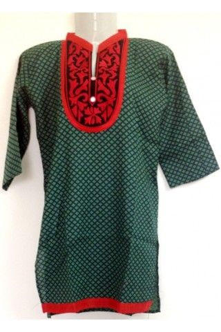 #Cotton #Kurti - Dark Green Busy Printed Red Outlined