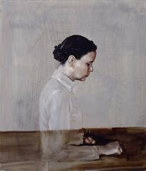 Luc Tuymans. I find this painting unusual in its use of transparency, compared to his other work. (That's because it's actually by Michael Borremans, sorry!)