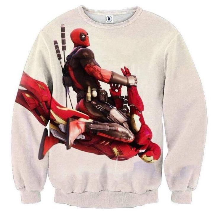 White Deadpool & Iron Man 3D Printed Sweatshirt