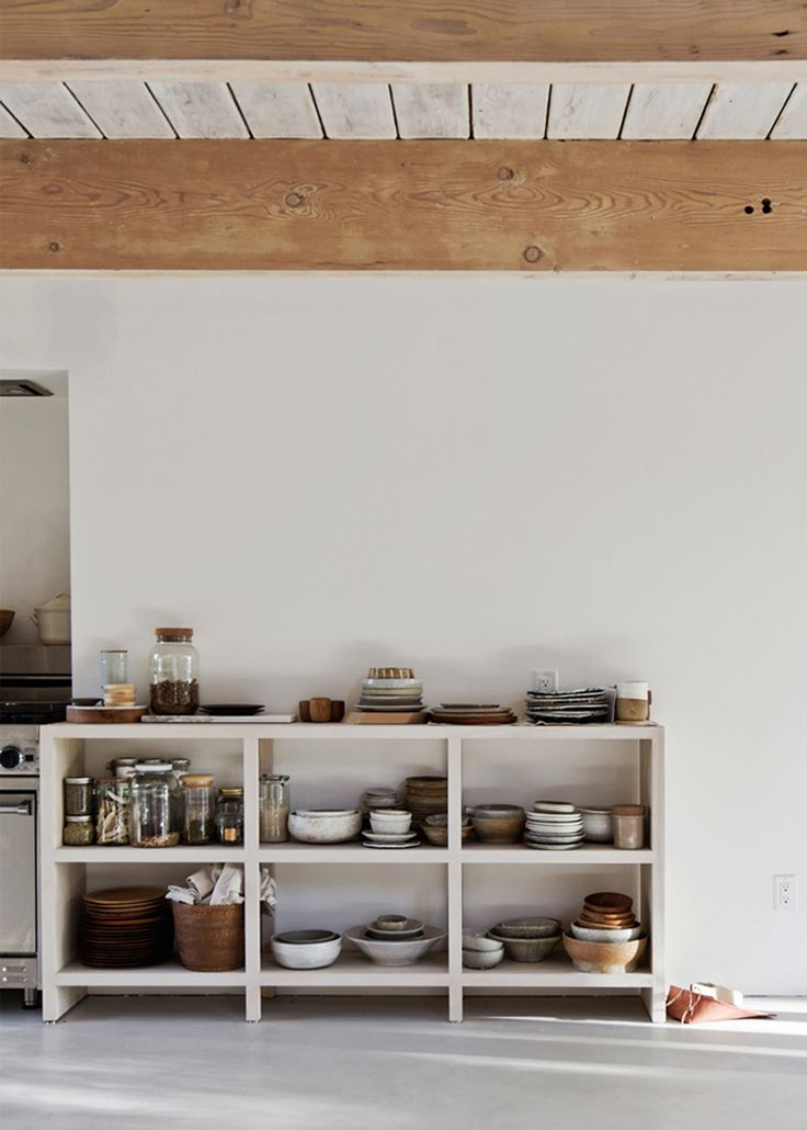 North Vancouver House Renovation   Open Shelves With Gorgeous Mixed Pottery