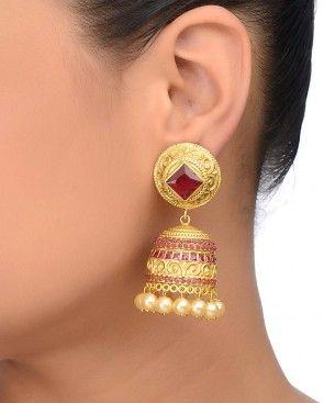 Golden Jhumka Earrings with Pink Stones
