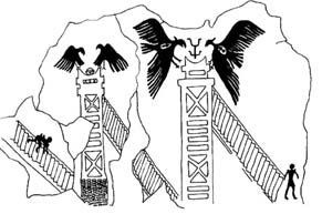 Catal Huyuk   Alternative Archaeology. On one tower, two vultures lie poised with curled wings over a sole human head. Next to that tower, another similar tower, a headless match stick man hanging upside down over it, a vulture on either side, ready to attack. Two figures depart the stair ways at the bottom, wearing knee-length kilts and triangular-shaped high shoulder-pad vests.