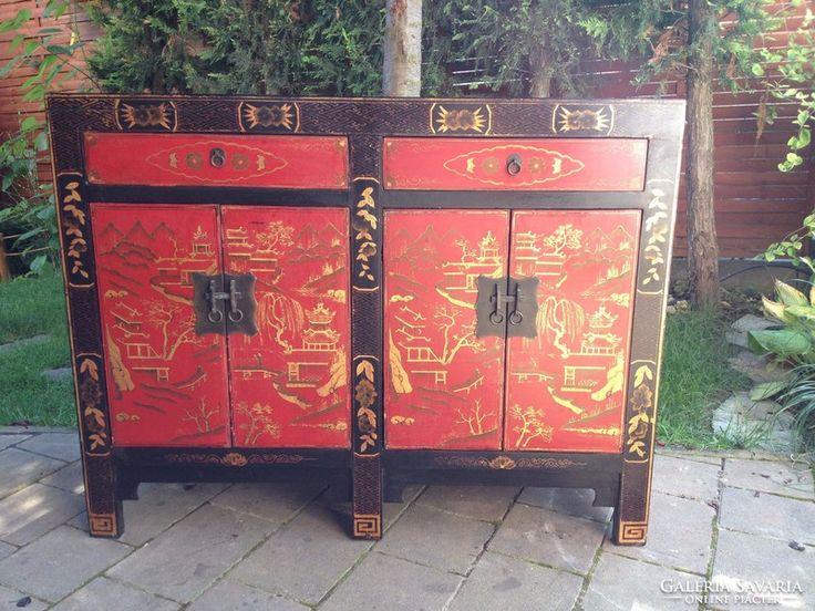 Keleti kínai kézzel festett komód. Igazi kézműves bútor!