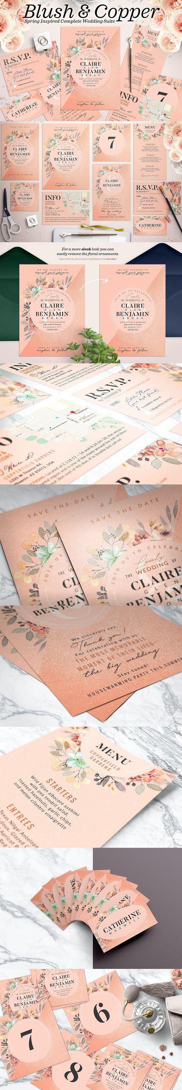 wedding card backgrounds vectors%0A Wedding Suite IX  Blush Copper  Wedding Card Templates