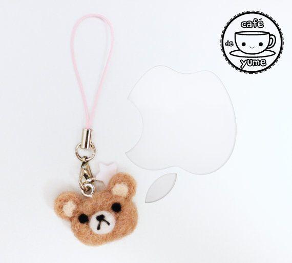 Needle Felted Rilakkuma Bear Plushie Charm Keychain by CafeDeYume