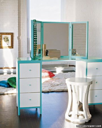 Vanity with Triptych Mirror - Nightstands + Glass Top make for more modern look. (I'd personally make the frames on the mirror a bit more 'fun' as this is a bit TOO sleek for me :D - just add a bit of scrollwork trim on the top frame and it'd be perfect)
