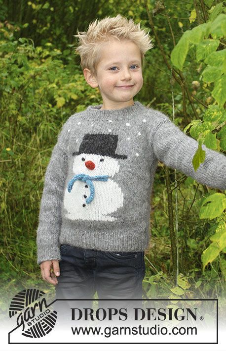 Frosty's Christmas Kids  - Knitted jumper with snowman. For children sizes 2 – 12 years. The piece is worked in DROPS Air. Free knitting pattern  DROPS Children 30-28
