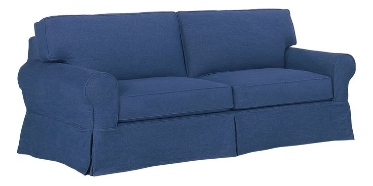 Nautical Blue Slipcover Sofa Beach House Living