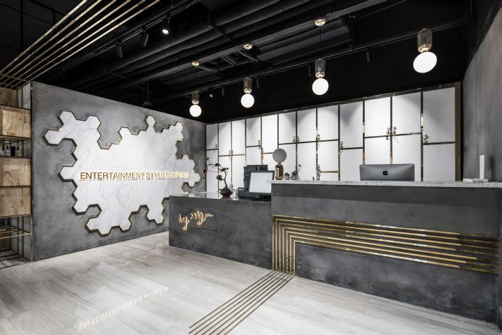 Pin By 張浚澤 On 室 櫃台 Counter Reception Desk Design