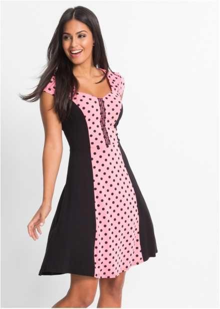 Платье со вставкой в горошек, BODYFLIRT, коралловый/черный в горошек