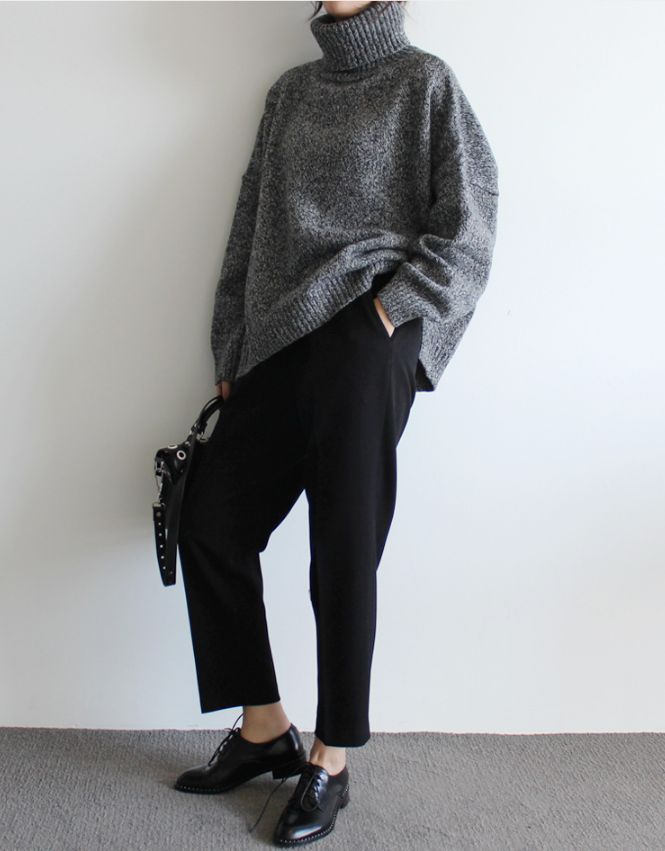 grey turtleneck + trousers + oxfords