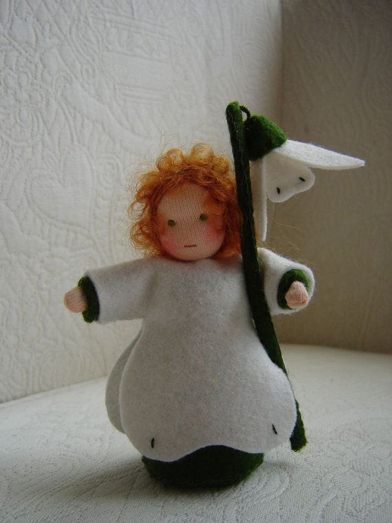 Nature table doll Snowdrop doll 43 Inch by Poppelien on Etsy