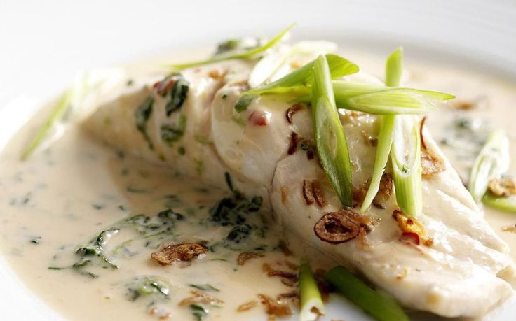 Coconut-poached fish with spinach