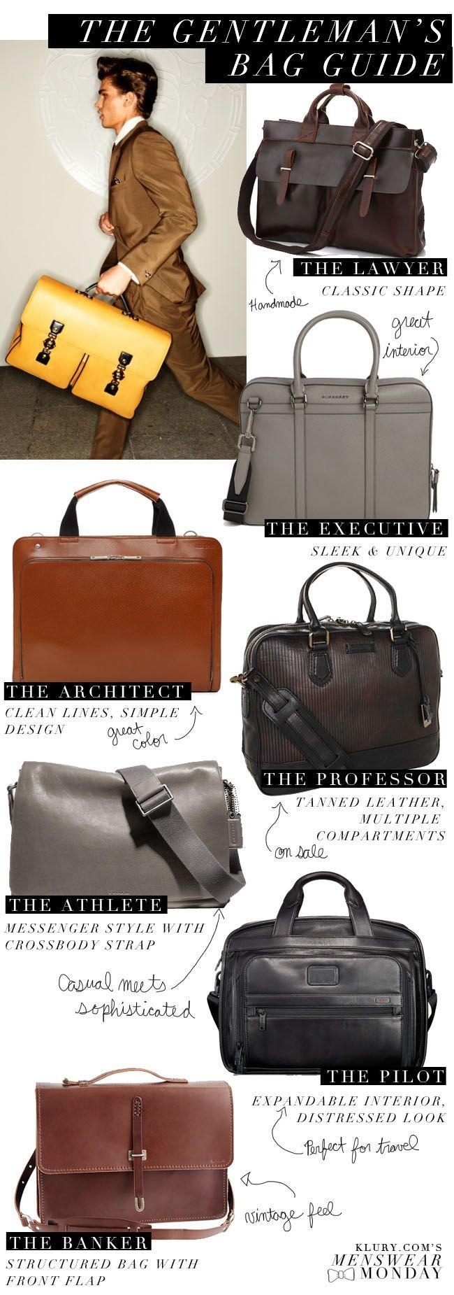 Klury.coms Menswear Monday: The Gentleman Bag Guide
