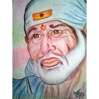 Buy Sai Baba color pencil sketch Online- Shopclues.com