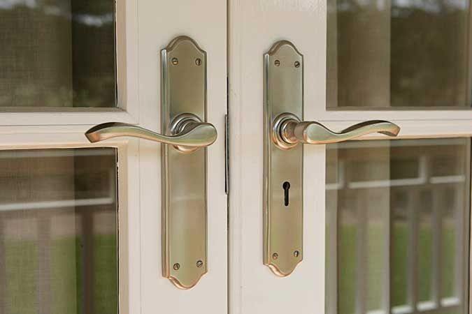 Strongbuild external door handles domino brass for French door knobs