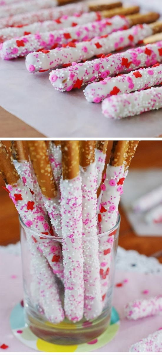 Valentines White Chocolate-Dipped Pretzel Rods | Click Pic for 26 DIY Valentines Day Crafts for Kids to Make | Easy Valentine Crafts for Toddlers to Make