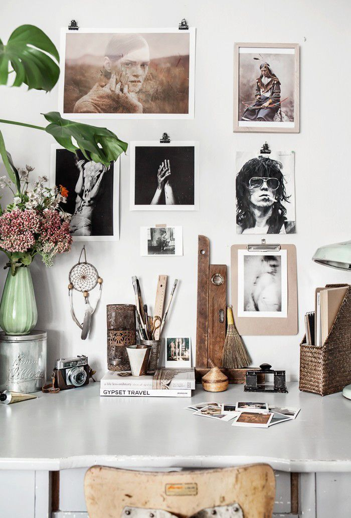 home office Love this rustic eclectic desktop